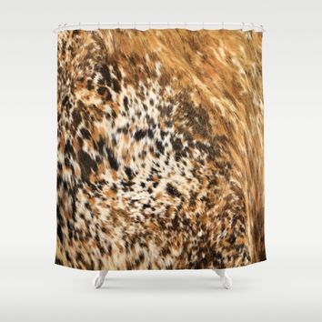 Rustic Country Western Texas Long Horn Cow Animal Hide Prints Shower Curtain by KateLCardsNMore