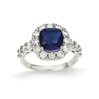 Sterling Silver Polished with Sapphire Glass and CZ Ring