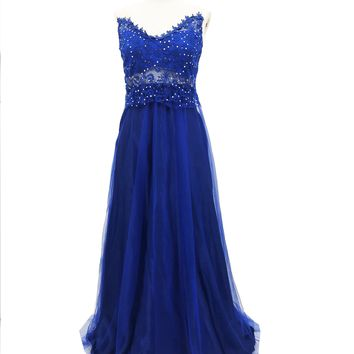 Women Mesh Long Formal Blue Wedding Hollow Out Sleeveless Strapless V Neck Ball Gown Party Long Dress