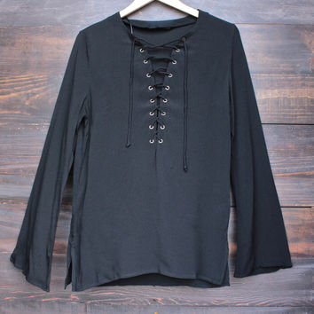 gypsy life oversize front-tie tunic - black