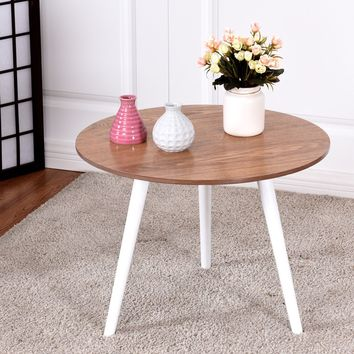 Giantex Modern Round Coffee Table Side Tea End Table Pine Wood Furniture Dining Living Room Tables HW57024