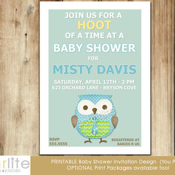 Owl baby shower invitation - Modern Owl Baby Shower Invitation - baby boy, mid century modern, unique, mint blue yellow brown - You Print