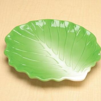 Large Green Ceramic Cabbage Plate