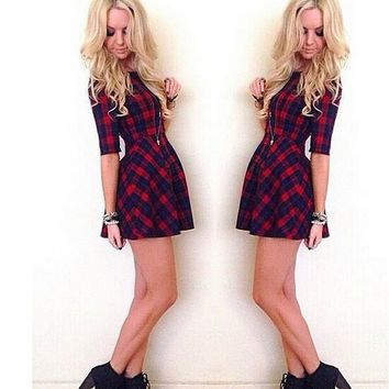 Red Plaid A Line Sleeve Pleated Dress