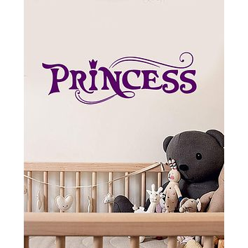 Vinyl Wall Decal Little Princess Word Logo Girl's Room Quote Stickers (3056ig)