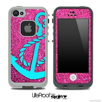 Pink Sparkle Turquoise Anchor Skin for the iPhone 5 or 4/4s LifeProof Case