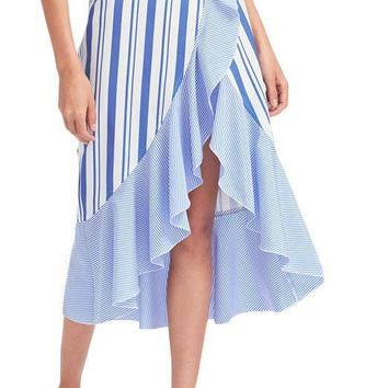 Mixed Striped Wrap Skirt Asymmetrical Women Blue Ruffle High Low Empire Midi Skirts Summer Elegant Draped Skirt