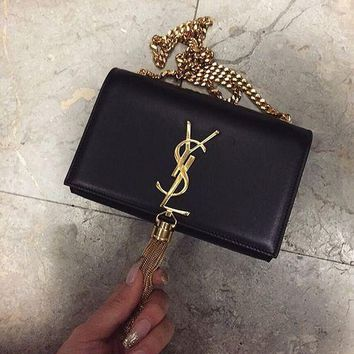 YSL Fashion Women Metal Tassel Shopping Leather Metal Chain Crossbody Satchel Shoulder Bag Black I