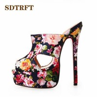 SDTRFT PLUS:40-43 44 45 46 Summer slides Open Toe Sandals 16cm thin High-heeled female Shoes woman Slingbacks pumps zapatos