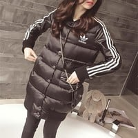 """""""Adidas"""" Women Sport Casual Fashion Stripe Cardigan Long Sleeve Thickened Cotton-padded Clothes Middle Long Section Coat"""