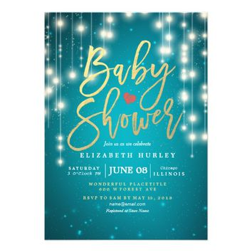 String Lights Gold Script Blue Glitter Baby Shower Card