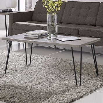 Modern Classic Vintage Style Coffee Table With Wood Top & Metal Legs