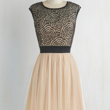 Pastel Mid-length Cap Sleeves A-line Starlet's Web Dress in Peach