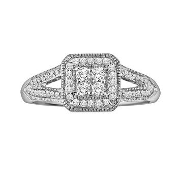 Cherish Always Round-Cut Diamond Frame Engagement Ring in 10k White Gold (1/3 ct. T.W.)