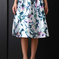 Sketched Flower Print Pleated A Line Skirt | UrbanOG