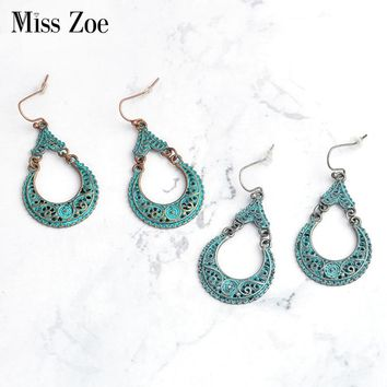 Miss Zoe BOHO Moon Crescent Dangle Earrings blue green Bohemia Ethnic Vintage Beach Holiday Charm ear jewelry Gift for Women