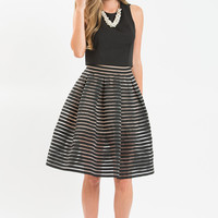 Jenny Black and Taupe Striped Elastic Skirt