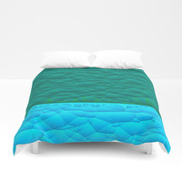 Quilted Sky Blue and Green Two Toned Pattern Duvet Cover by Sheila Wenzel