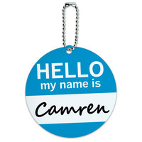 Camren Hello My Name Is Round ID Card Luggage Tag