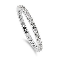 Sterling Silver Polished Eternity Ring with Clear Cubic Zirconia Stones - 2mm