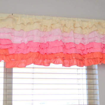 Custom Ruffled Curtain Valance, Ombre Cream to Dark Coral Pink, You Design, Made to Order, Dust Ruffle