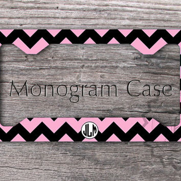 Customized Pink and Black chevron License Plate Frame, cute car tag, monogrammed car plate, front license plate - 136