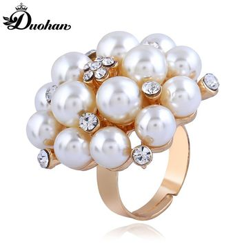 Duohan Office Lady Style Simple Imitation Multiple Small Pearl Female Statement Ring Bright Rhinestone Adjustable Gold Color