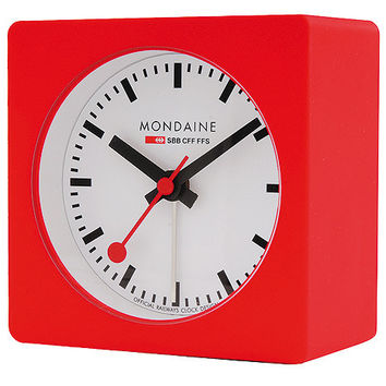 Mondaine Square Alarm Clock With White Dial and Red Rubber Coating on Case