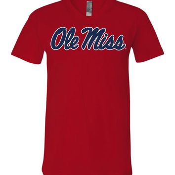 Official NCAA University of Mississippi Rebels Ole Miss Hotty Toddy Unisex V-Neck T-Shirt - 95OLM