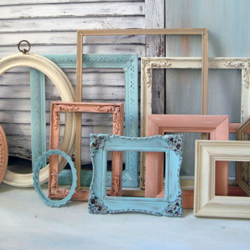 Shabby Chic Coral, Cream, Blue, Painted Vintage Frames, Set of 12 Blue and Coral Open Frame and Mirror Set, Cottage Chic, Nursery Decor