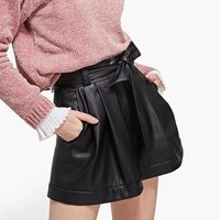 Women PU Leather High Waist Short Waist Sashes Design Casual Women Streetwear Short