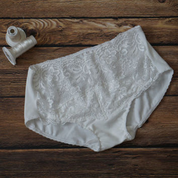 White Cotton and Lace Bridal Panties - Ready to Ship