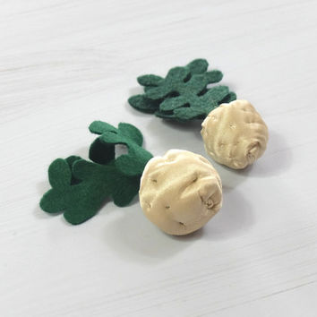 Felt  and Textile Celeriac, Toy Vegetable, Fabric Veggies, For Kids, Small Gardener, Small Cook, Seller, Pretend Food, Beige Cream Green