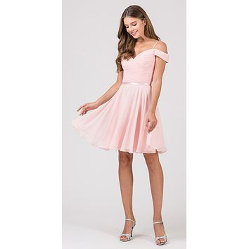 Cold-Shoulder Short Homecoming Dress Dusty Pink