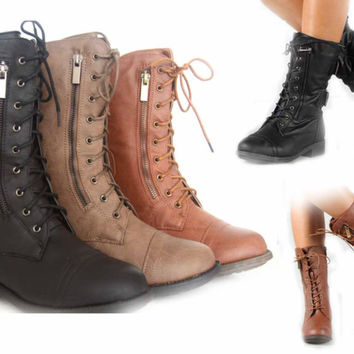 Women's Fashion Mid Calf Zipper Round Toe Low Heel Combat Military Lace Up Shoes