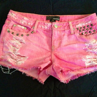 Pink dyed studded destroyed denim shorts Sexy low by CaliFusion