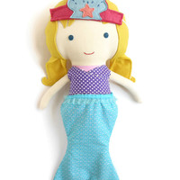 Mermaid costume set for fabric dolls, doll clothing accessories, mermaid tail top and crown to dress up rag dolls play set for toddlers gift