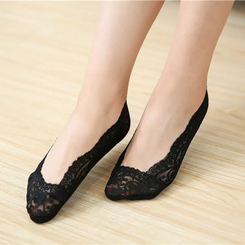Lace Antiskid Invisible Liner Ultra-thin Elastic Low Cut Socks