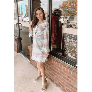 Pastel Rainbow Lace-Up Dress
