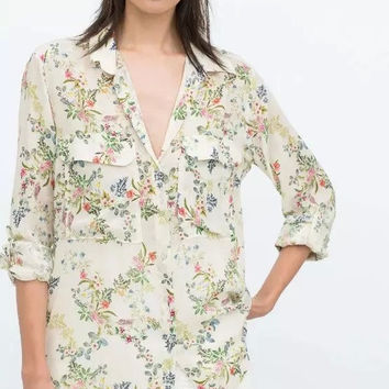 White Floral Print Long-Sleeve Button Collared Shirt With Pocket