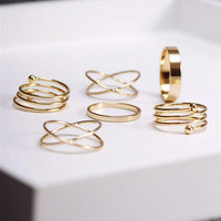 6 Piece Set of Midi Ring Set