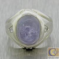 Vintage Estate 14k White Gold 9ct Star Sapphire Diamond Mens Ring