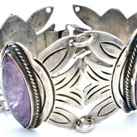 Early Mexican Sterling Silver Amethyst Bracelet Gemstone Vintage Jewelry
