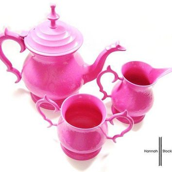 Pink Metal Tea Set by HannahStockham on Etsy