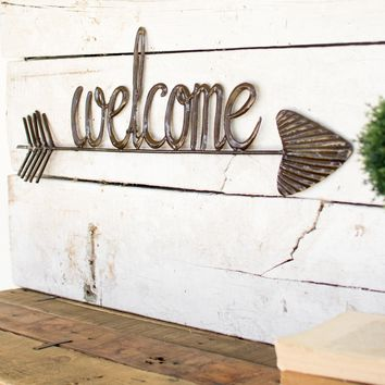 """Welcome"" Sign With Arrow"