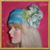 2014 Resort Head Wrap Collection bright turquoise Italian Sinamay linen Head Wrap with two tone double silk roses and velcro closure
