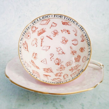 Art Deco Era Halloween Fortune Telling Teacup and Saucer by Paragon