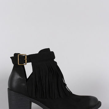 Qupid Fringe Side Cutout Chunky Heeled Booties