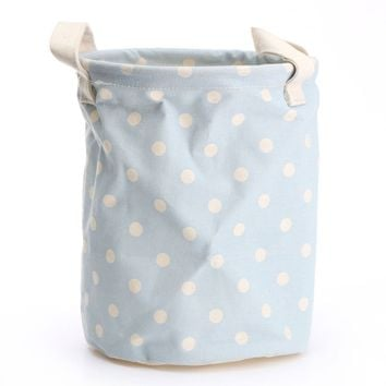Storage Laundry Basket With Handles 17*22cm Cotton Linen Bucket Foldable Washing Clothes Storage Waterproof Tidy Organization