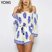 BOHO Vintage Leaf Print Off The Shoulder Playsuit Sexy Slash Neck Long Sleeve Jumpsuit Summer Beach Romper Plus Size